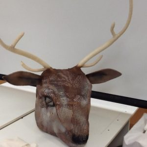 PRC Wardrobe Supervisor Sam Kate Toney made this stag head mask using varaform and papier mache.